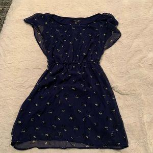 B2434 Forever 21 S Blue Floral Fit & Flare Dress